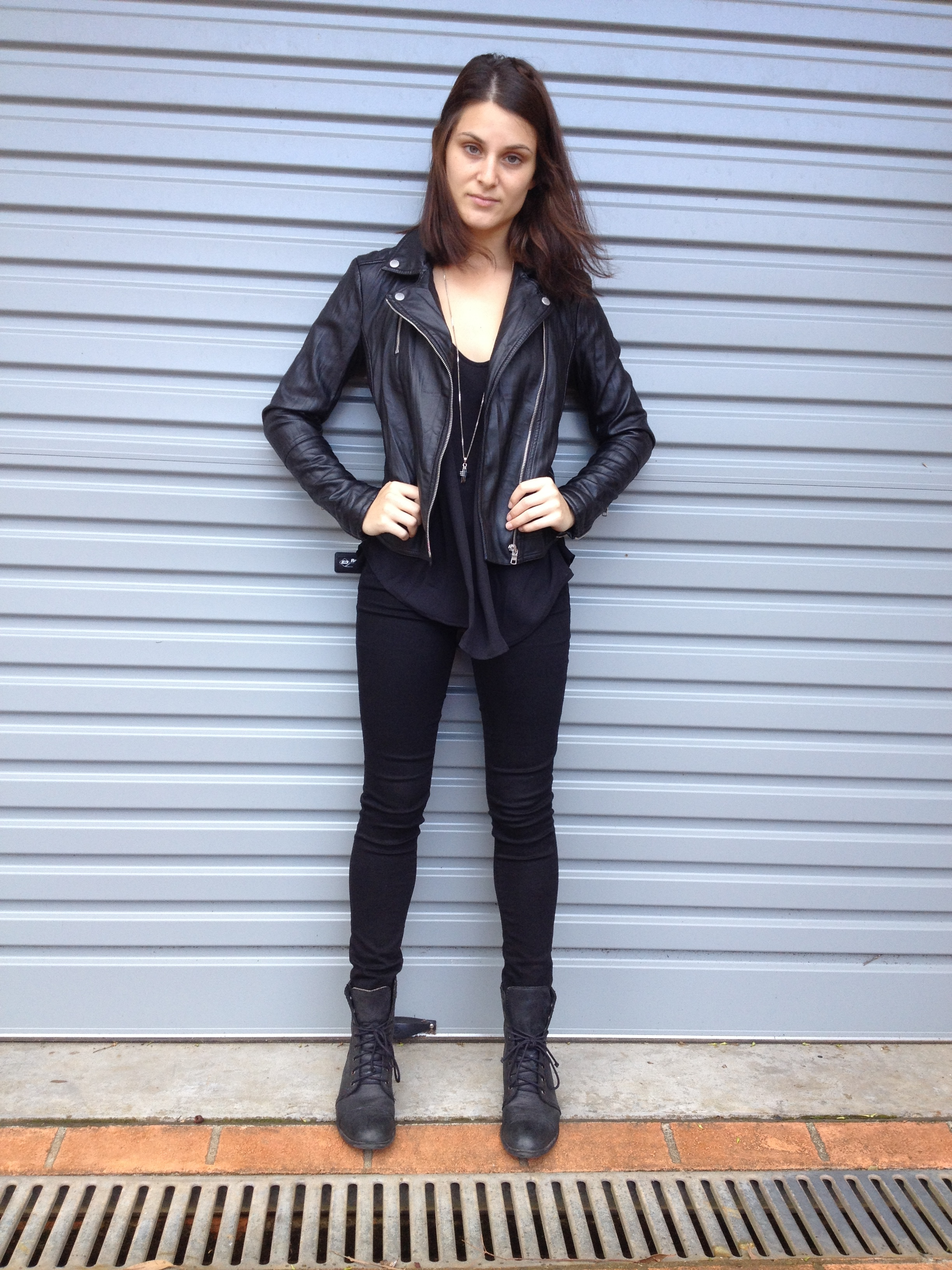 Armani Exchange Leather Jacket, Brandy Melville Top, American Eagle Jeans, Roc  Boots, TT Necklace.
